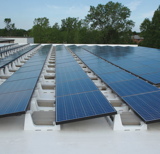 Solar panels with white mounts
