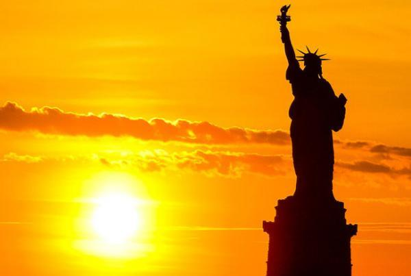 Statue of Liberty with sunshine