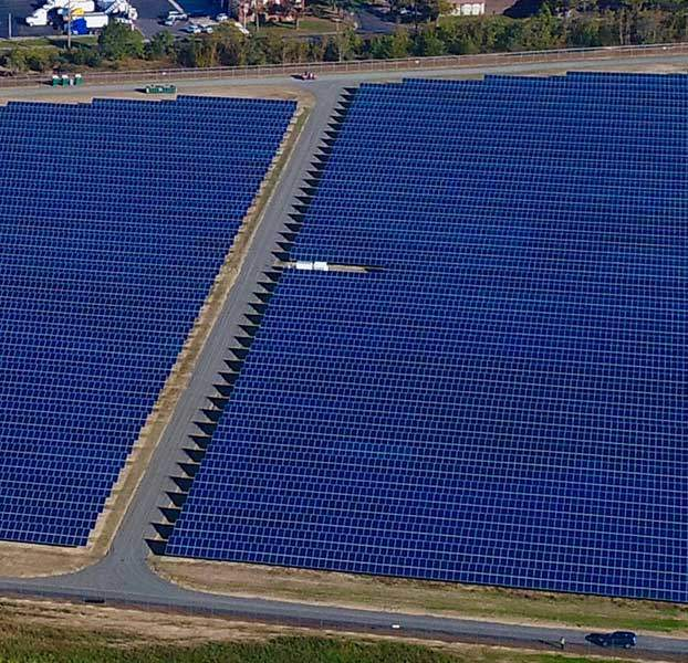 Aerial of power plant solar