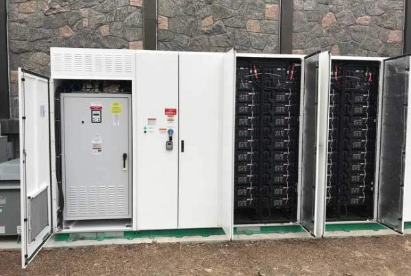 Tesla Powerpack with doors open