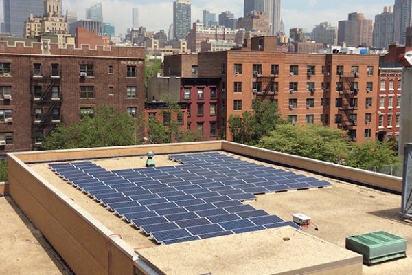 NYC solar array on rooftop