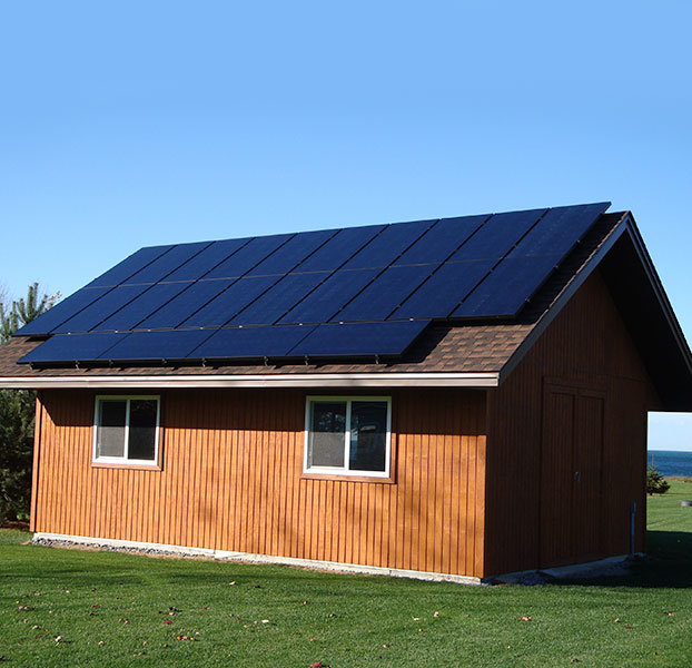 Small building with solar panels