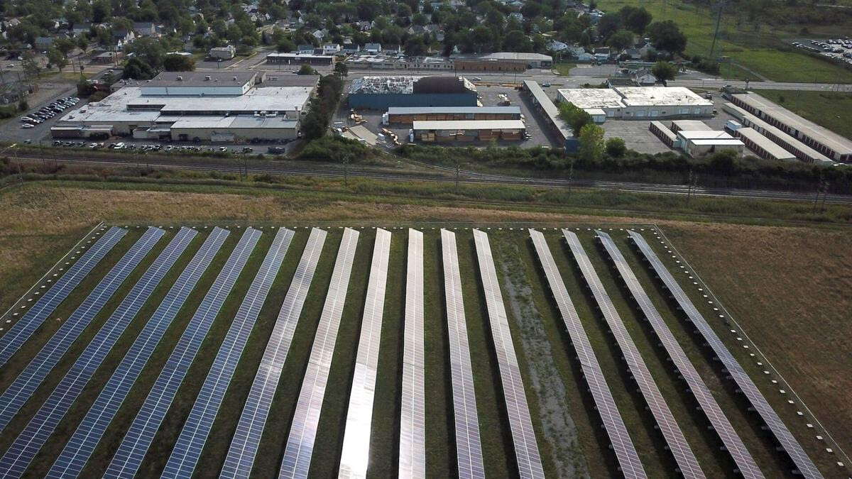 Overhead view of solar grid